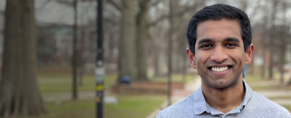 Pavan Ravindra with the UMD campus mall in the background.