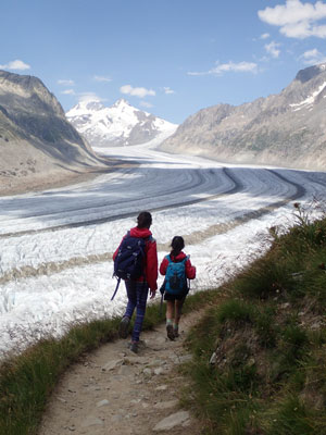 Global climate change threatens the continued existence of glaciers, such as the Aletsch Glacier in Switzerland, photographed in July, 2015. Image credit: Anupma Gupta/Michael Evans (Click image to download hi-res version.)