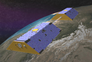 The twin satellites of NASA's Gravity Recovery and Climate Experiment (GRACE), active between 2002 and 2016, made detailed measurements of Earth's gravity field, enabling discoveries about gravity and Earth's natural systems. A new study that used GRACE data, coupled with data from other satellites and published reports of human activity, determined global-scale changes in Earth's freshwater supplies. Image credit: NASA/JPL-Caltech (Click image to download hi-res version.)
