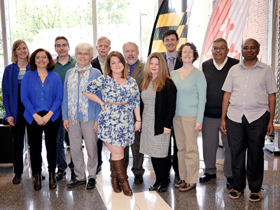 (L-R) Karen Carleton, Liliana Gonzalez, Fawzi Emad, Catherine Plaisant, Scott Taylor, Joanna Patterson, John Merck, Bonnie Miranda, David Yim, Melissa Hayes-Gehrke, CMNS Dean Jayanth Banavar and Niranjan Ramachandran. Not pictured: Suvi Gezari and Krista Smith. Photo by Faye Levine.