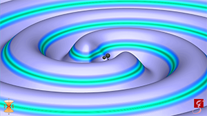 This image shows a numerical simulation of a binary black hole merger with masses and spins consistent with the fourth and most recent LIGO observation, named GW170814. The observation is also the first to include data from the newly completed Virgo detector. The strength of the gravitational wave is indicated by elevation as well as color, with dark green indicating weak fields and bright violet indicating strong fields. The sizes of the black holes are doubled to improve visibility. Image Credit: Numerical-relativistic Simulation: S. Ossokine, A. Buonanno (Max Planck Institute for Gravitational Physics) and the Simulating eXtreme Spacetime project Scientific Visualization: T. Dietrich (Max Planck Institute for Gravitational Physics), R. Haas (NCSA) (Click image to download hi-res version.)