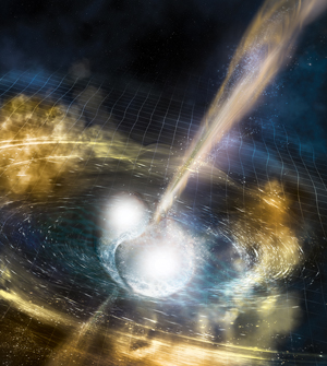 This illustration depicts the merger of two neutron stars. The rippling spacetime grid represents gravitational waves that travel out from the collision, while the narrow beams show the burst of gamma rays launched just seconds after the gravitational waves. Swirling clouds of material ejected from the merging stars glow with visible and other wavelengths of light. Image credit: National Science Foundation/LIGO/Sonoma State University/A. Simonnet (Click image to download hi-res version.)