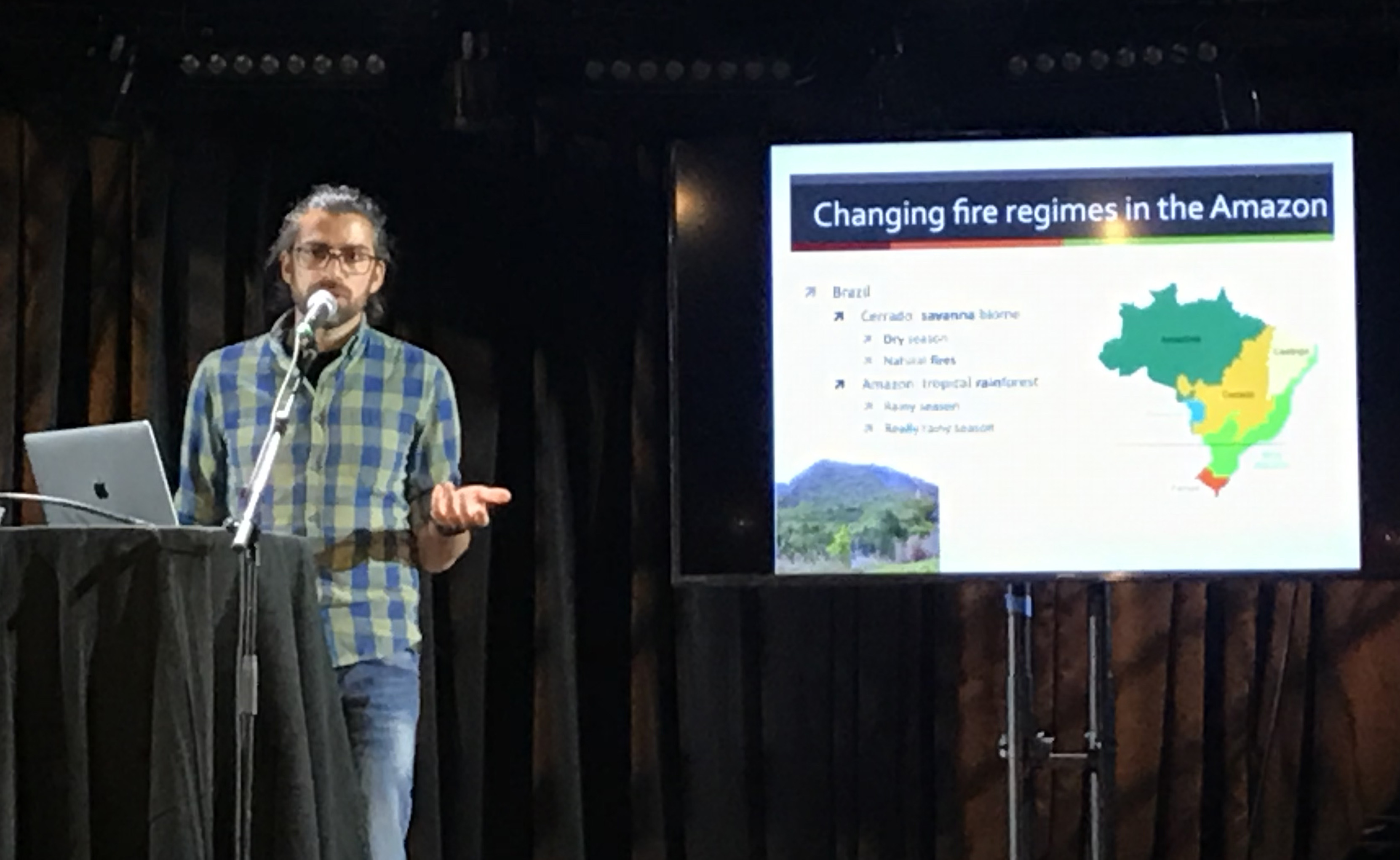 Rafael Andrade speaks about his research at the Science on Tap lecture on Dec. 4, 2019. Credit: Nicolle Schorchit