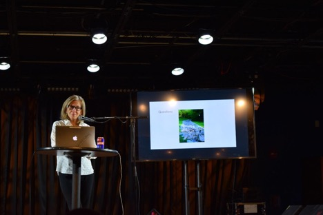 Margaret Palmer speaking at UMD's Science on Tap lecture series at MilkBoy ArtHouse on Nov. 4, 2019. Credit: Nicolle Schorchit