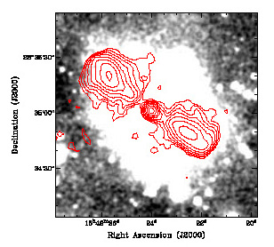 Discovery Channel Telescope image of J1649+2635 highlighting the diffuse halo, with an overlay of the radio contours from the Faint Images of the Radio Sky at Twenty Centimeters survey. Credit: Mao et al., NRAO/AUI/NSF, Discovery Channel Telescope