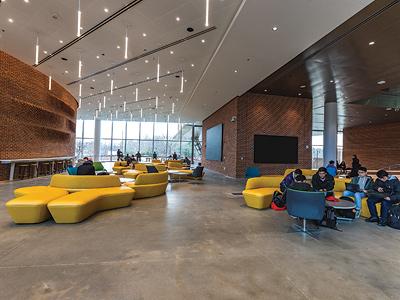 The Brendan Iribe Center lobby. Image credit: John T. Consoli (Click image to download hi-res version)