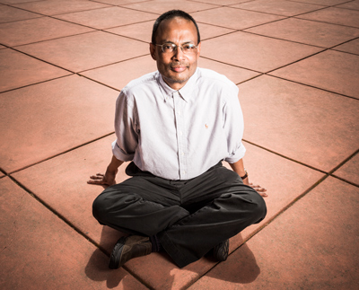 "Sankar Das Sarma. Topological quantum computing theorizes that ""Quantum Doughnuts"" could be braided together to form a stable quantum computing system. Photo courtesy of Microsoft."