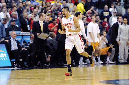 Varun Ram celebrates Maryland's win over Valparaiso in the Terps' first NCAA Tournament game since 2010. Credit: Greg Fiume