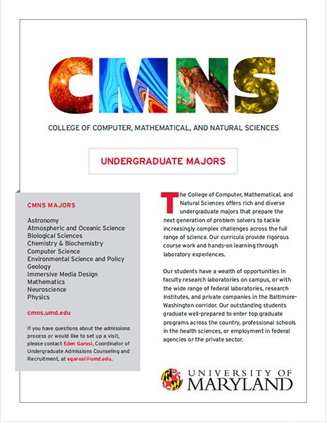 Click to download a PDF that describes the CMNS undergraduate majors.