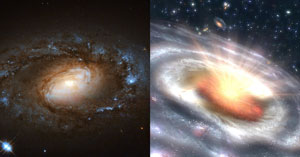A new study led by University of Maryland astronomers documented six sleepy, low-ionization nuclear emission-line region galaxies (LINERs; left) suddenly transforming into blazing quasars (right), home to the brightest of all active galactic nuclei. The researchers suggest they have discovered an entirely new type of black hole activity at the centers of these six LINER galaxies. Image credits: (Left; infrared & visible light imagery): ESA/Hubble, NASA and S. Smartt (Queen's University Belfast); (Right; artist's concept): NASA/JPL-Caltech (Click image to download hi-res version.)
