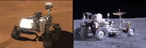 A research team, including UMD Geology Assistant Professor Nicholas Schmerr, repurposed data from instruments aboard NASA's Curiosity rover (left) to measure subtle changes in gravity on Mars, in much the same way a lunar rover (right) measured gravity on the moon during the Apollo 17 mission in 1972. Image credit: NASA/JPL-Caltech (Click image to download hi-res version.)