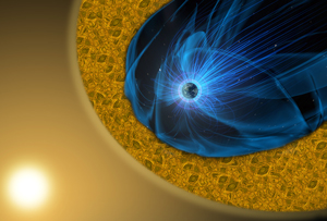 "In this visualization, as the supersonic solar wind (yellow haze) flows around the Earth's magnetic field (blue wavy lines), it forms a highly turbulent boundary layer called the ""magnetosheath"" (yellow swirling area). A new research paper describes observations of small-scale magnetic reconnection within the magnetosheath, revealing important clues about heating in the sun's outer layers and elsewhere in the universe. Image credit: NASA's Goddard Space Flight Center/Mary Pat Hrybyk-Keith (Click image to download hi-res version.)"