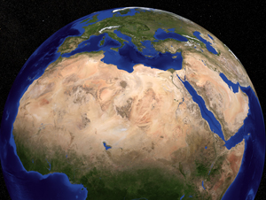 This image shows three regions in North Africa: The Sahara, the Sahel and the Sudan. The Sahel, a word derived from the Arabic 'sahil' meaning shore, is a semi-arid belt of barren, sandy and rock-strewn land that stretches 3,860km across the breadth of the African continent and marks the physical and cultural divide between the continent's more fertile south (the Sudan) and the Sahara Desert north. Image credit: NASA/Goddard Space Flight Center Scientific Visualization Studio (Click image to download hi-res version.)