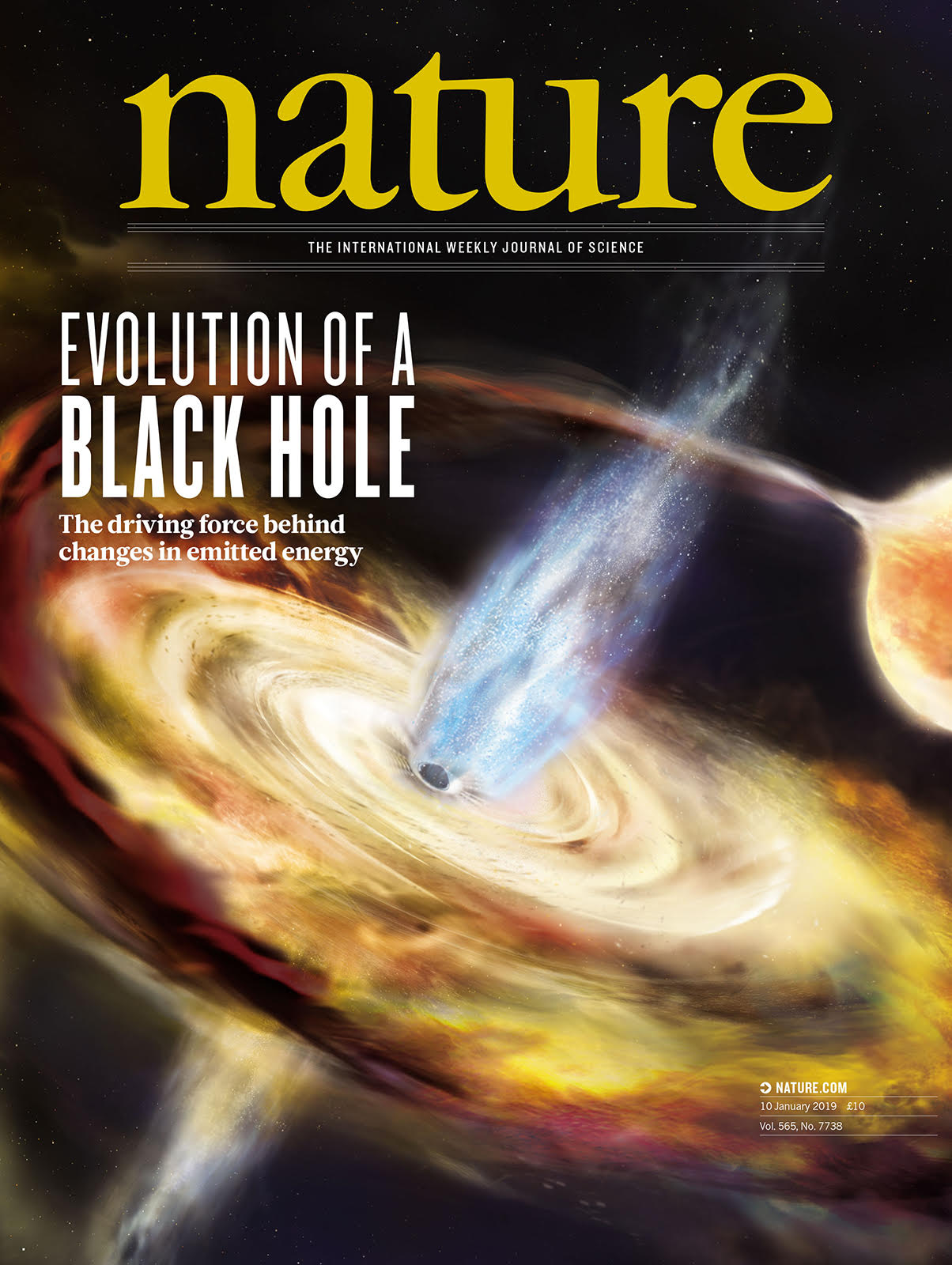 "Recent research has revealed new insights about the environment near a relatively small, ""stellar mass"" black hole named MAXI J1820+070, which is about 10 times the mass of the sun. The research will be published in the January 10, 2019 issue of the journal Nature. Image credit: Nature Publishing Group (Click image to download hi-res version.)"