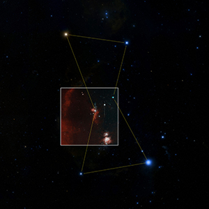 "The ""first-light"" image from ZTF is shown here (inset) within the Orion constellation. The Orion nebula can be seen within the ZTF image. Each ZTF image covers an area of sky equivalent to 247 full moons. Such large images will enable the camera to scan the sky quickly to discover objects that move or change in brightness, such as asteroids and supernovas, even when rare and short lived. Image credit: Caltech Optical Observatories (Click image to download hi-res version.)"