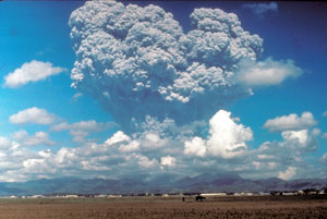 This photo, taken on June 12, 1991, shows the eruption column of Mount Pinatubo on Luzon Island in the Philippines. The eruption—the largest on Earth in the past 100 years—ejected particles into the stratosphere, more than 6 miles above the planet's surface. New research uses ice core data to rewrite the past 2,600 years of large stratospheric eruptions like this one. Image credit: Dave Harlow/USGS (Click image to download hi-res version.)
