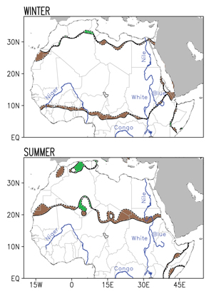 This pair of images shows the change in the boundaries of the Sahara Desert during the period 1920-2013, broken down by season. Dotted lines show the boundary as it existed in 1920, while solid lines show the boundary in 2013; both boundaries are averaged across the three months of each season. (Winter = Dec-Feb; Summer = Jun- Aug). Brown shaded regions indicate desert advance while green shaded regions indicate desert retreat. Image credit: Natalie Thomas/Sumant Nigam/University of Maryland (Click image to download hi-res version.)